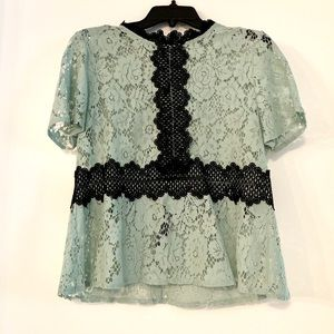 Beautiful Mint Green & Black Lace Top